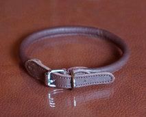 Läderhalsband, rundsytt brun